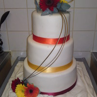 White 3 Tier Round Wedding With Fresh Gerberas got asked by a lady at my daughters nursery to do a 3 tier plain white cake, she said she had ordered the flowers from the florist and just...