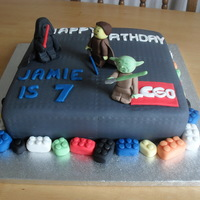Star Wars Lego Cake all edible star wars lego cake. i think my yoda was good but darth was a little off!! all in all though i was pleased with the result!