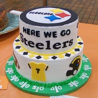 "Here We Go Steelers!   10 and 8 in. cakes covered in bc. All fondant accents and sugar sheet ""steelers"" letters. Cake board also covered in fondant..."