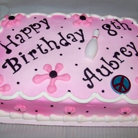 Pink Birhtday 1/4 sheet cake,, spray painted...