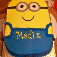 Minion   This is a minion cake iced in bc. with fondant accents. Love the turn out...