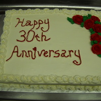 Red Roses white cake with vanilla buttercream
