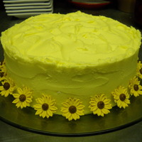 Yellow Daisies   lemon cake with lemon buttercream; fondant flowers