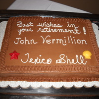 Oil Company Retirement chocolate cake with chocolate buttercream
