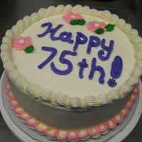 75Th Birthday white cake with vanilla buttercream
