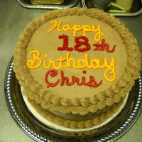 Chris cake for a co-worker; chocolate cake and chocolate buttercream