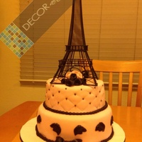 Paris Theme Celebration Cake Pink and black Paris, parisean theme cake