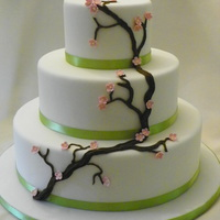 Cherry Blossom Wedding Cake   Fondant covered cakes with RI branch and GP flowers