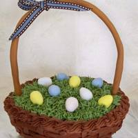 Easter Basket   BC basketweave, BC grass, GP handle, candy eggs