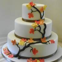 Fall Wedding Cake   Cake covered in fondant, leaves made of GP and dusted with pearl dust. Branch made of RI