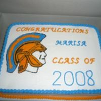 Trojan Graduation Cake All buttercream. Transfered image and filled in with stars. Thanks fo looking.