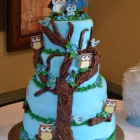 Blue Owl Baby Shower Cake
