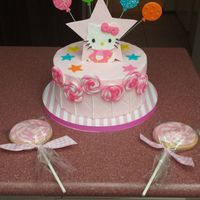 Hello Kitty Cake Hello Kitty cake and cookie pops to match the invitations. It's hard to tell in the picture, but the birthday girl's name is...