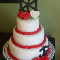 Nautical Red Black And White Wedding Cake Gum Paste Captains Wheel Anchor And Roses   Nautical red black and white wedding cake, gum paste captains wheel anchor and roses