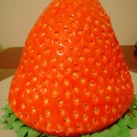 Grandaughters 4Th Birthday Cake Giant strawberry, strawberry flavoured butter cake with white chocolate ganache filling