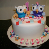 Hoot Cake   Vanilla cake with strawberry ganache filling, white ganache crumb coat then covered in fondant