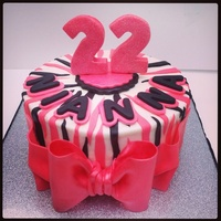 Pink And Black Zebra Cake   Buttercream with fondant decorations