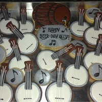 Beer Keg And Banjo Cookies   Cookie platter was made for a birthday party with a Bluegrass band and a beer keg.