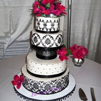 "Black Amp White Bc Damask With Fuchsia Lilies Done For My Daughter By Another Mother Cakes Were Carrot Wcream Cheese Flavored Bc Wasc Black & White BC Damask with Fuchsia lilies done for my ""daughter by another mother"". Cakes were Carrot w/cream cheese..."