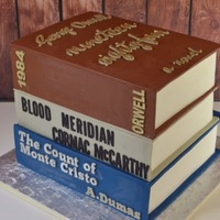 Stacked Books Groom's Cake It seems like books are a popular item to make in cake, at least it has been in my experience. I recently made this book stack as a groom&#...