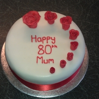 80Th Birthday Cake With Roses Rich fruit, scratch marzipan, sugarpaste, flowers in flower paste & dusted, RI piping.