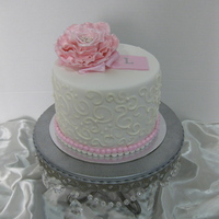 Linda Made for my mother in law. First time at piping...and boy do I have to practice!! All fondant with sugar flower =)