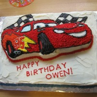 Lightning Mcqueen Cake Wilton cake pan on 11x14 cake