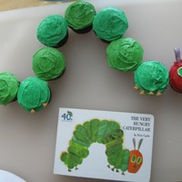 Hungry Little Caterpillar Cupcakes for my son's 1st birthday - very simple and quick