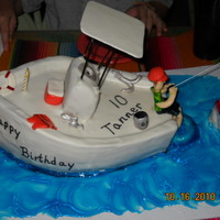 Boating I made this for my sons birthday.. He loves to go boating and fishing. Chocolate cake with chocolate ganache covered in MMF. I made the...