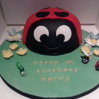 """gaston"" Ladybird Cake This is based on Ben and Holly's Little Kingdom character, Gaston. This has been a great, fun cake to make!"