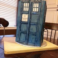 Tardis Cake   *Dr. Who cake for a wedding shower. Covered in mmf.