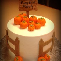Pumpkin Patch Fence & sign is fondant....pumpkins are modeling chocolate