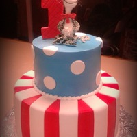 Cat In The Hat 6/10 butter cream cake with fondant dots & stripes. Fondant cat in the hat and #1.