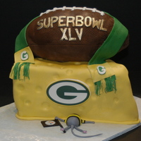 Superbowl Xlv Superbowl cake for Greenbay fan, Football made with RCT and cake covered in MMF. Peanut butter cake with chocolate mousse filling. Thanks...