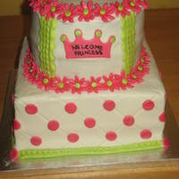 Princess Baby Shower Cake   This cake is iced all in buttercream with mmf accents.
