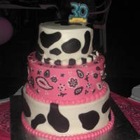 Hot Pink And Cow Print With Bandana This was for a cowgirl celebrating her 2nd 29th bday lol. It's all buttercream except for the cow spots, those are duff's black...