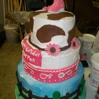 Girl/western girly western cake made the boot out of fondant