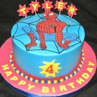 Spiderman Cake   Buttercream, with fondant accents.
