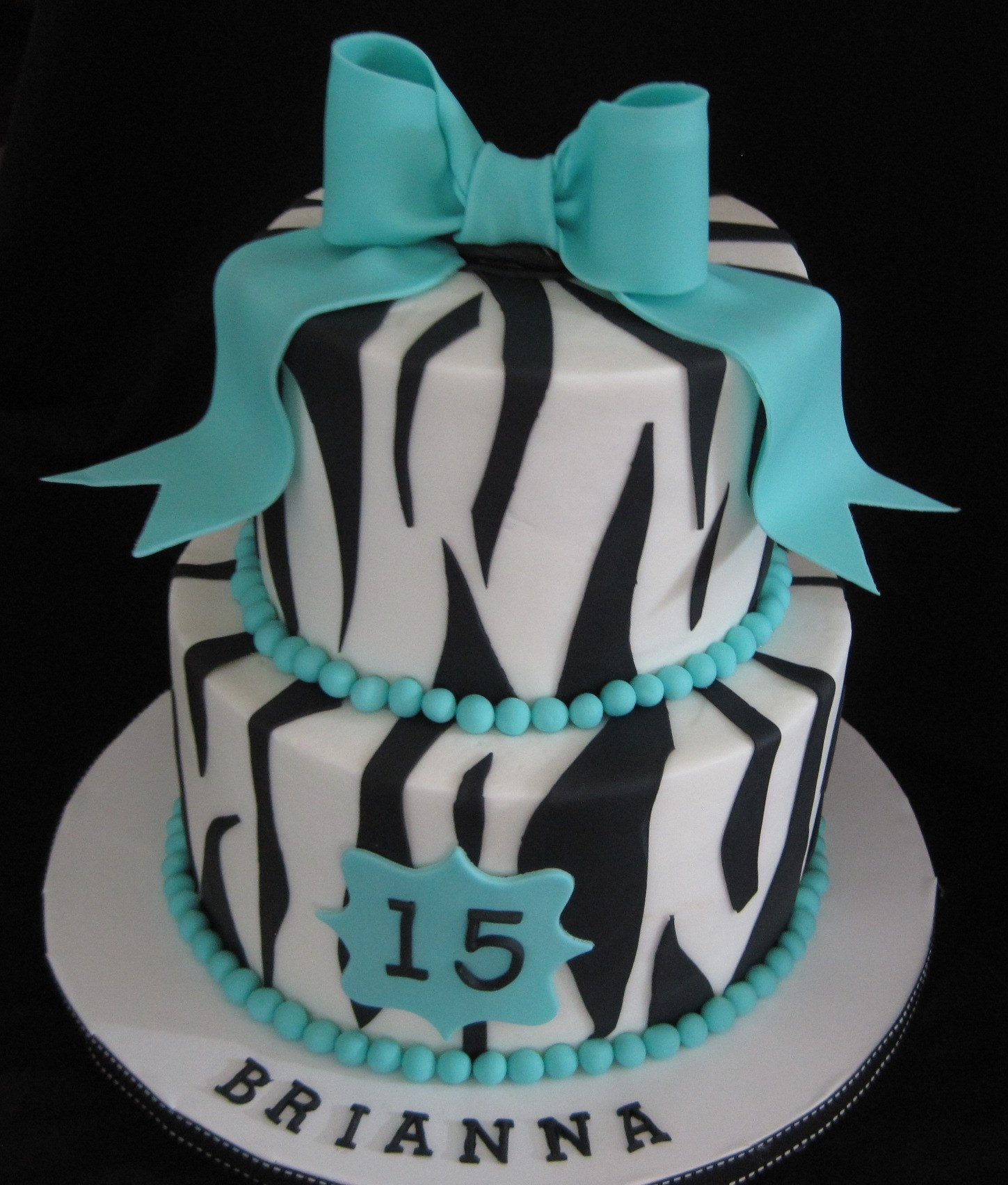 Zebra And Bows buttercream with gumpaste bow
