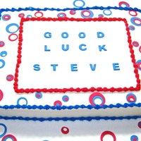 Red, White, Blue Don't normally do sheet cakes, but....buttercream, with fondant accents. Inspired by cakencookiebakr on flickr.