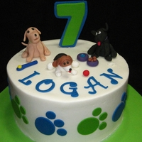 Doggie Birthday buttercream, with fondant accents