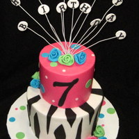 Girly Zebra  I TOTALLY copied this cake from ms.debbie.com. (If she's on here, I don't know her name. Sorry) Needed a pink zebra cake and this...
