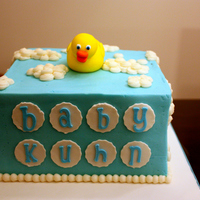 Rubber Ducky Baby Shower 8x8 square, iced in BC with a fondant/gumpaste mix for the ducky. SO happy with the font we found, it was the perfect touch!