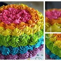 Neon Rainbow Rosette Cake Test Cake Even With The Wrong Tip I Do Really Like How It Turned Out The Inside Is Rainbow Colors Alsowith Neon rainbow rosette cake-Test cake-Even with the wrong tip i do really like how it turned out :)... The inside is rainbow colors also,with...