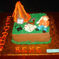 Volcano Cake!  the client request for a cake for her son,which just had graduated for a geology ingeniere, she ask for a volcano (RKT) a gps,topographyc...