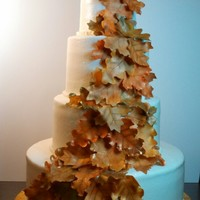 Fall Leaves Round Tiered Wedding Cake Fall Leaves Round Tiered Wedding Cake
