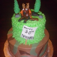 Hunting Cake Hunting scene with deer holding rifle.