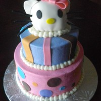 Hello Kitty Hello kitty iced in fondant with butter cream accents.