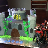 Castle Cake 3D castle towers are rkt and covered in fondant.