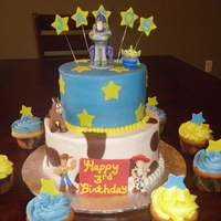 Toy Story Toy Story cake in butter creme with fondant accents.